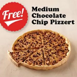 Free Medium Chocolate Chip Pizzert