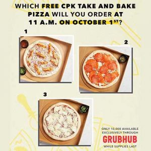 Free Take and Bake Pizza on October 1