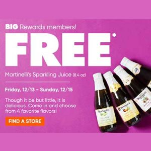 Free Martinelli's Sparkling Juice for Big Rewards Members