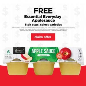 Free Essential Everyday Applesauce at Cub