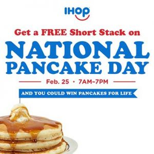 Free Stack of Pancakes at IHOP on February 25
