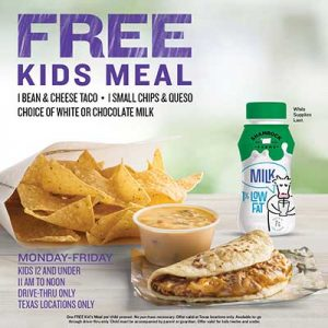 Free Kids Meal at Taco Cabana in Texas