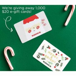 Free $20 Kohl's Gift Card for Winners