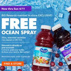 Free Ocean Spray Beverage at Big Lots